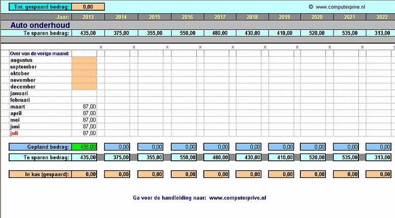 Onderhoudsbeurten planner voor de auto in excel for Planning maken